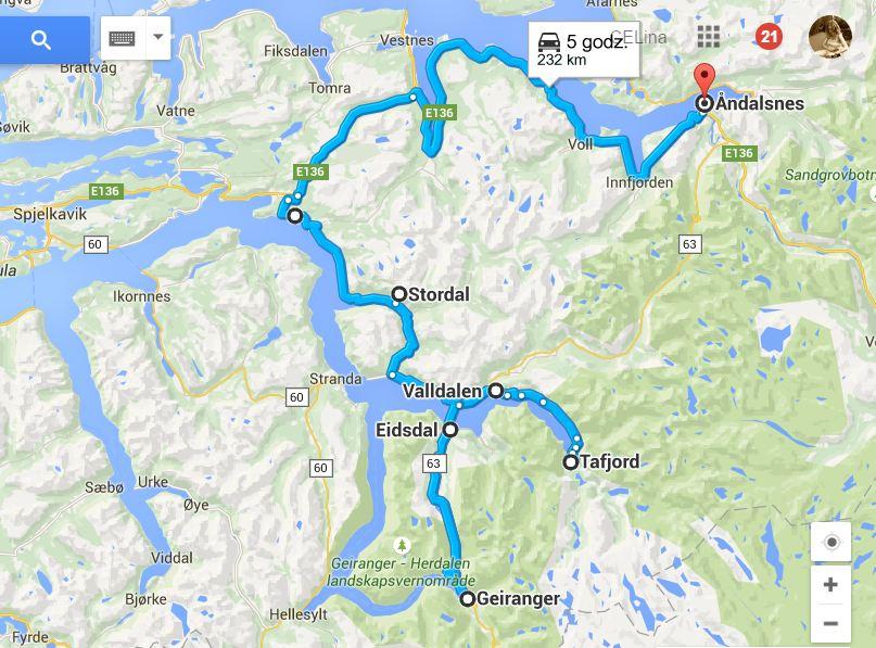 Geirganger Majówka dzień 3 nasza trasa