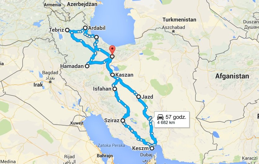 Mapka przedstawia zarys całej trasy, nie uwzględnia wszystkich okolicznych miast i wsi, które odwiedziłyśmy