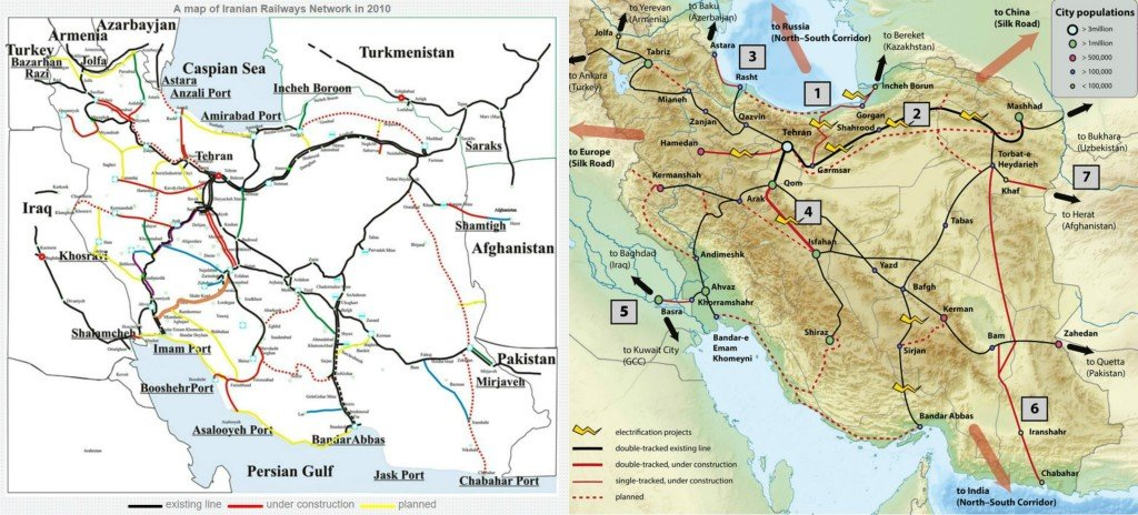 Iran railway map