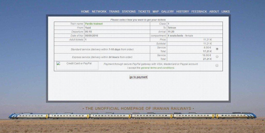Pociąg Iran dostarczenie biletu